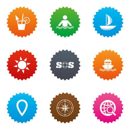 orange roses: Cruise trip, ship and yacht icons. Travel, cocktail and sun signs. Sos, windrose compass and swimming symbols. Stars label button with flat icons. Vector Illustration