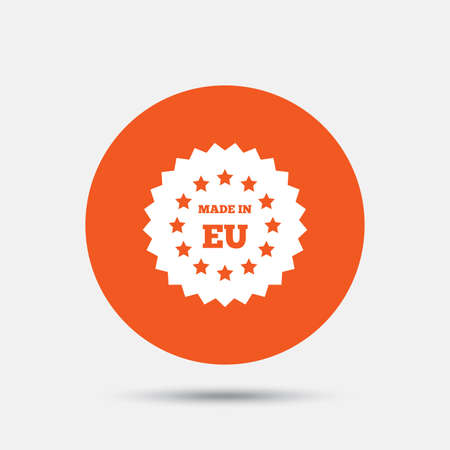 Made in EU icon. Export production symbol. Product created in European Union sign. Orange circle button with icon. Vector Illustration