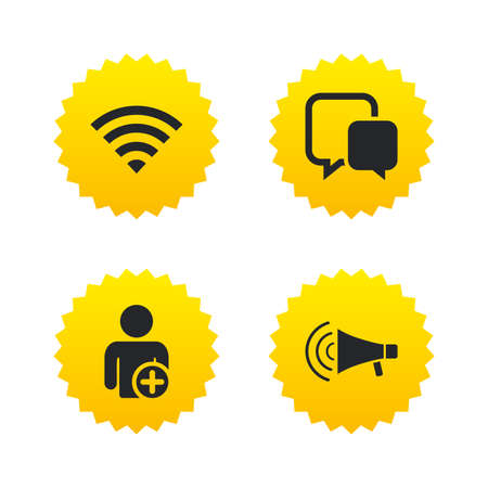 Wifi and chat bubbles icons. Add user and megaphone loudspeaker symbols. Communication signs. Yellow stars labels with flat icons. Vector Illustration