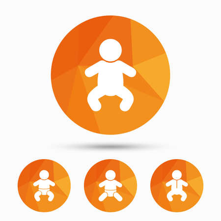 toddler: Newborn icons. Baby infant or toddler symbols. Child silhouette. Triangular low poly buttons with shadow. Vector