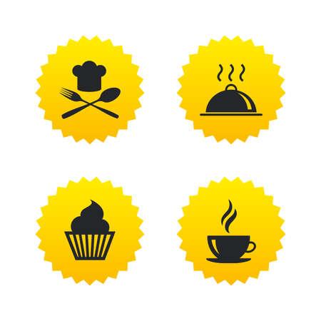 Essen und Trinken Ikonen. Muffin Cupcake Symbol. Gabel und Löffel mit Chef Hut Zeichen. Heiße Kaffeetasse. Lebensmittel Teller serviert. Gelbe Sterne-Etiketten mit flache Ikonen. Vektor