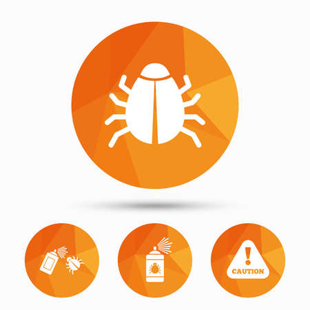 Bug disinfection icons. Caution attention symbol. Insect fumigation spray sign. Triangular low poly buttons with shadow. Vector