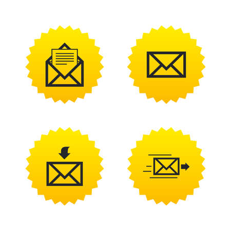 Mail envelope icons. Message document delivery symbol. Post office letter signs. Inbox and outbox message icons. Yellow stars labels with flat icons. Vector Illustration