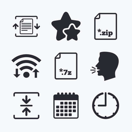 zipped: Archive file icons. Compressed zipped document signs. Data compression symbols. Wifi internet, favorite stars, calendar and clock. Talking head. Vector Illustration