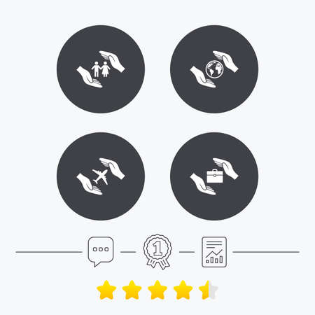 star life: Hands insurance icons. Human life insurance symbols. Travel flight baggage symbol. World globe sign. Chat, award medal and report linear icons. Star vote ranking. Vector