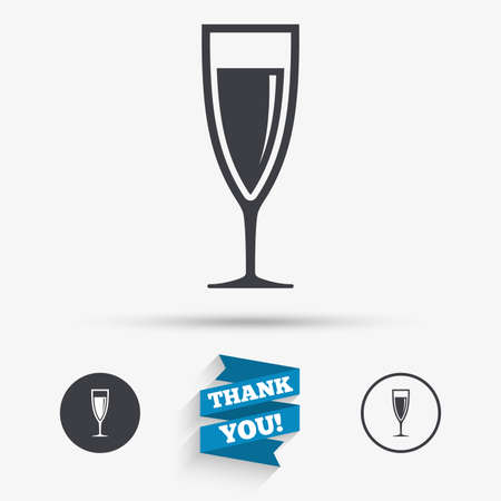 champagne celebration: Glass of champagne sign icon. Sparkling wine. Celebration or banquet alcohol drink symbol. Flat icons. Buttons with icons. Thank you ribbon. Vector Illustration