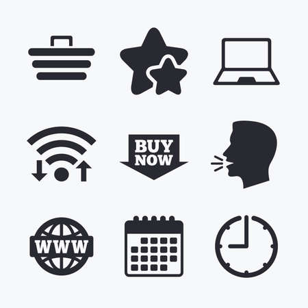 ultrabook: Online shopping icons. Notebook pc, shopping cart, buy now arrow and internet signs. WWW globe symbol. Wifi internet, favorite stars, calendar and clock. Talking head. Vector