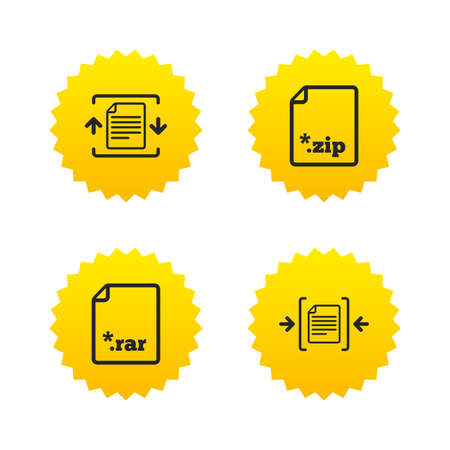 zipped: Archive file icons. Compressed zipped document signs. Data compression symbols. Yellow stars labels with flat icons. Vector