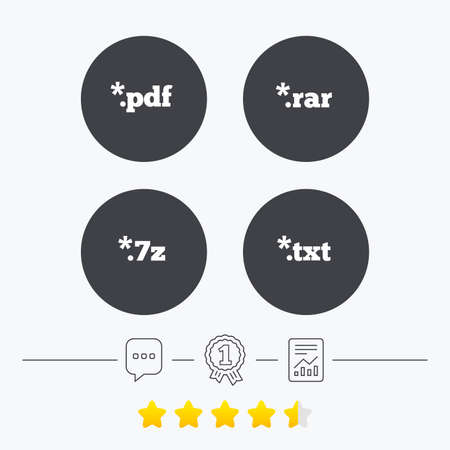 txt: Document icons. File extensions symbols. PDF, RAR, 7z and TXT signs. Chat, award medal and report linear icons. Star vote ranking. Vector Illustration
