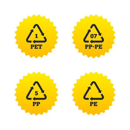 PET 1, PP-pe 07, PP 5 and PE icons. High-density Polyethylene terephthalate sign. Recycling symbol. Yellow stars labels with flat icons. Vector