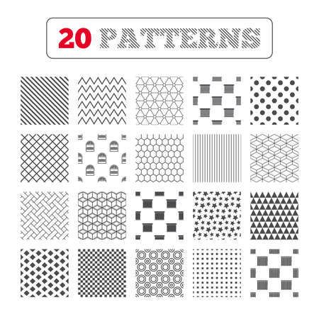 Ornament patterns, diagonal stripes and stars. Louvers icons. Plisse, rolls, vertical and horizontal. Window blinds or jalousie symbols. Geometric textures. Vector Illustration