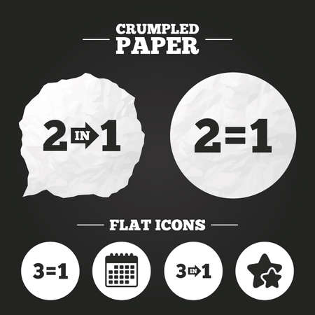 equals: Crumpled paper speech bubble. Special offer icons. Take two pay for one sign symbols. Profit at saving. Paper button. Vector Illustration