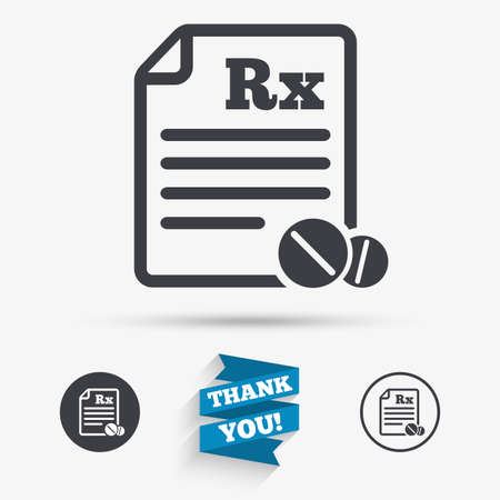 rx: Medical prescription Rx sign icon. Pharmacy or medicine symbol. With round tablets. Flat icons. Buttons with icons. Thank you ribbon. Vector