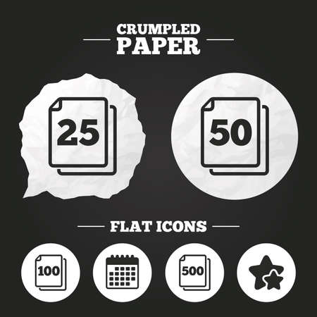 quantity: Crumpled paper speech bubble. In pack sheets icons. Quantity per package symbols. 25, 50, 100 and 500 paper units in the pack signs. Paper button. Vector