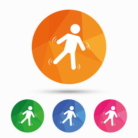 falling down: Man falls sign icon. Falling down human symbol. Caution slippery. Triangular low poly button with flat icon. Vector