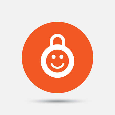 child protection: Child lock icon. Locker with smile symbol. Child protection. Orange circle button with icon. Vector Illustration