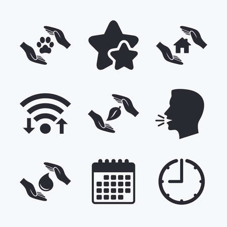 shelter: Hands insurance icons. Shelter for pets dogs symbol. Save water drop symbol. House property insurance sign. Wifi internet, favorite stars, calendar and clock. Talking head. Vector