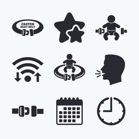 fasten: Fasten seat belt icons. Child safety in accident symbols. Vehicle safety belt signs. Wifi internet, favorite stars, calendar and clock. Talking head. Vector