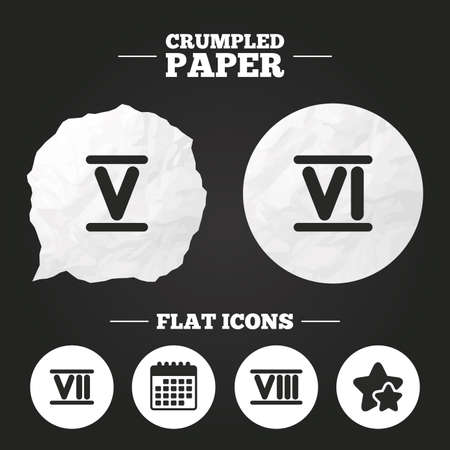 ancient roman: Crumpled paper speech bubble. Roman numeral icons. 5, 6, 7 and 8 digit characters. Ancient Rome numeric system. Paper button. Vector