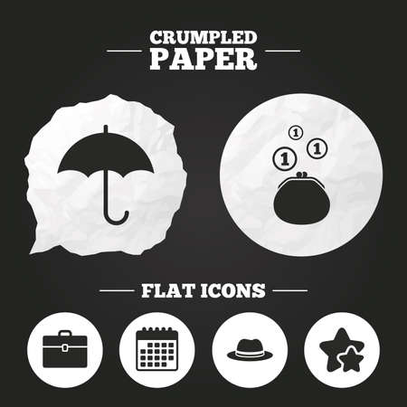 paper case: Crumpled paper speech bubble. Clothing accessories icons. Umbrella and headdress hat signs. Wallet with cash coins, business case symbols. Paper button. Vector Illustration