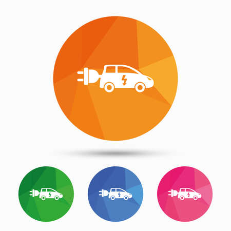 electric vehicle: Electric car sign icon. Hatchback symbol. Electric vehicle transport. Triangular low poly button with flat icon. Vector