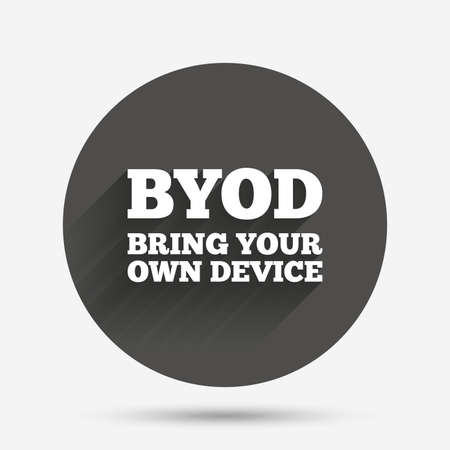 bring: BYOD sign icon. Bring your own device symbol. Circle flat button with shadow. Vector