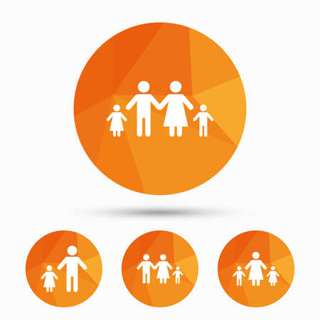 Family With Two Children Icon Parents And Kids Symbols One Parent
