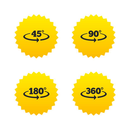 Angle 45-360 degrees icons. Geometry math signs symbols. Full complete rotation arrow. Yellow stars labels with flat icons. Vector