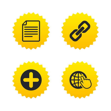 Plus add circle and hyperlink chain icons. Document file and globe with hand pointer sign symbols. Yellow stars labels with flat icons. Vector
