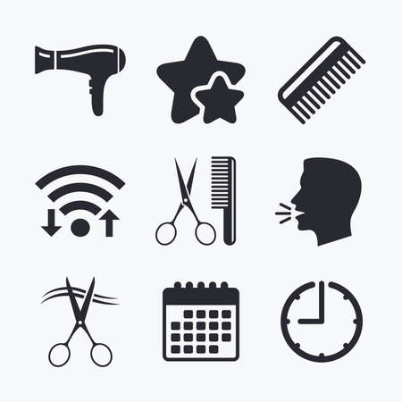 blow drying: Hairdresser icons. Scissors cut hair symbol. Comb hair with hairdryer sign. Wifi internet, favorite stars, calendar and clock. Talking head. Vector
