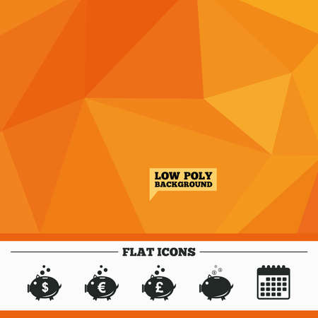pound coin: Triangular low poly orange background. Piggy bank icons. Dollar, Euro and Pound moneybox signs. Cash coin money symbols. Calendar flat icon. Vector
