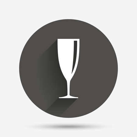 champagne celebration: Glass of champagne sign icon. Sparkling wine. Celebration or banquet alcohol drink symbol. Circle flat button with shadow. Vector