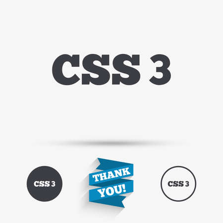 cascading style sheets: CSS3 sign icon. Cascading Style Sheets symbol. Flat icons. Buttons with icons. Thank you ribbon. Vector Illustration