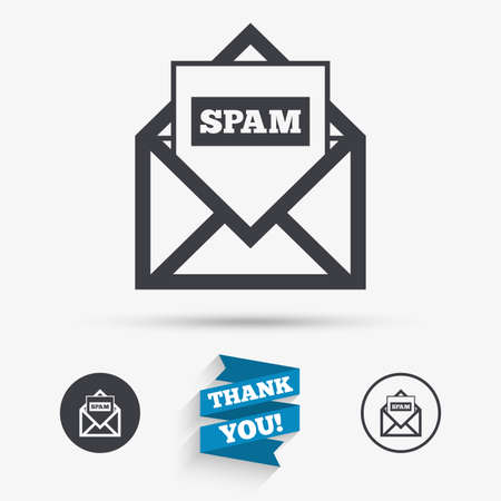 spam mail: Mail icon. Envelope symbol. Message spam sign. Mail navigation button. Flat icons. Buttons with icons. Thank you ribbon. Vector Illustration
