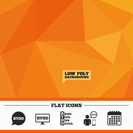 三角形の低ポリ オレンジ背景。BYOD アイコン。ノート パソコンとスマート フォンの兆候と人間。音声バブルの象徴。カレンダー フラット アイコン。ベクトル