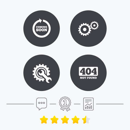 Coming soon rotate arrow icon. Repair service tool and gear symbols. Wrench sign. 404 Not found. Chat, award medal and report linear icons. Star vote ranking. Vector Illustration