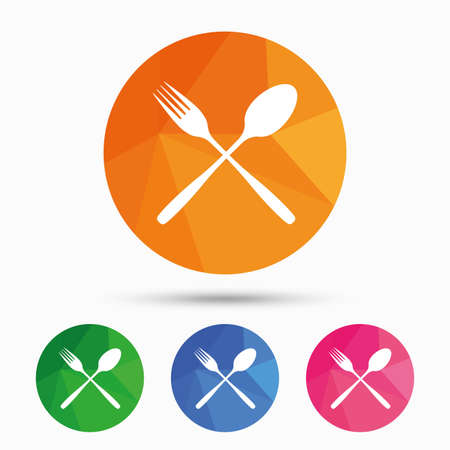 crosswise: Eat sign icon. Cutlery symbol. Fork and spoon crosswise. Triangular low poly button with flat icon. Vector