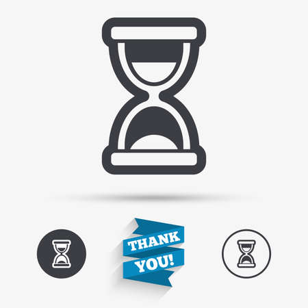 sand timer: Hourglass sign icon. Sand timer symbol. Flat icons. Buttons with icons. Thank you ribbon. Vector Illustration