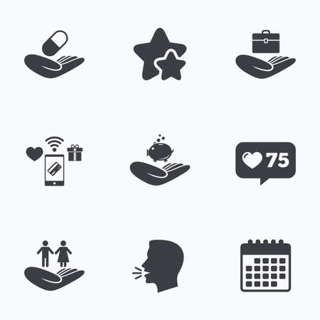 head protection: Helping hands icons. Protection and insurance symbols. Financial money savings, health medical insurance. Human couple life sign. Flat talking head, calendar icons. Stars, like counter icons. Vector Illustration
