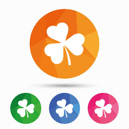 clover button: Clover with three leaves sign icon. Trifoliate clover. Saint Patrick trefoil symbol. Triangular low poly button with flat icon. Vector