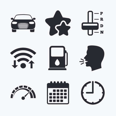 automatic transmission: Transport icons. Car tachometer and automatic transmission symbols. Petrol or Gas station sign. Wifi internet, favorite stars, calendar and clock. Talking head. Vector