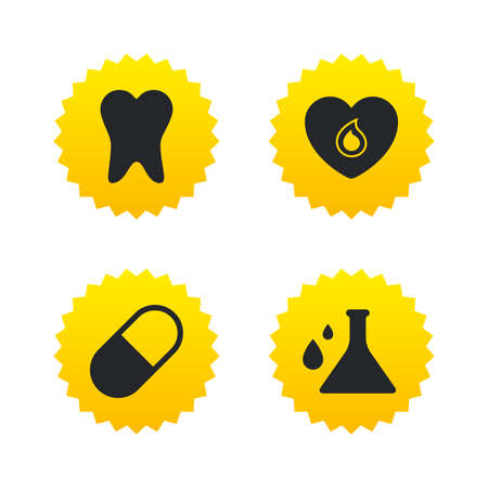 yellow lab: Maternity icons. Pill, tooth, chemistry and heart signs. Blood donation symbol. Lab bulb with drops. Dental care. Yellow stars labels with flat icons. Vector