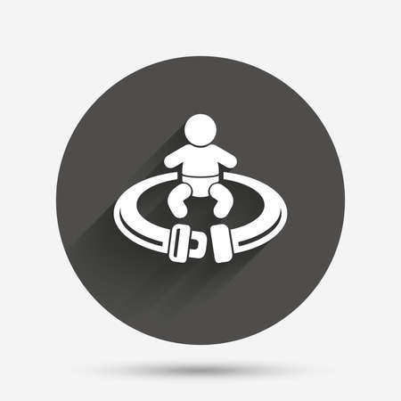 safety circle: Fasten seat belt sign icon. Child safety in accident. Circle flat button with shadow. Vector Illustration