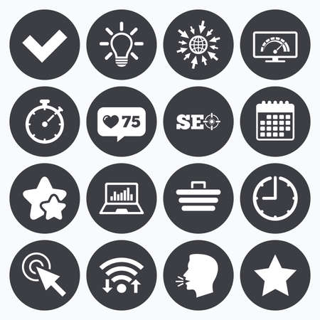 bandwidth: Calendar, wifi and clock symbols. Like counter, stars symbols. Internet, seo icons. Bandwidth speed, online shopping and tick signs. Favorite star, notebook chart symbols. Talking head, go to web symbols. Vector