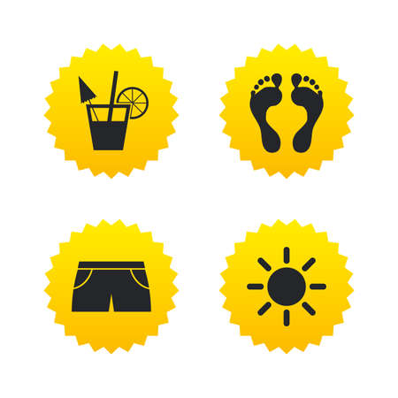 swimming trunks: Beach holidays icons. Cocktail, human footprints and swimming trunks signs. Summer sun symbol. Yellow stars labels with flat icons. Vector