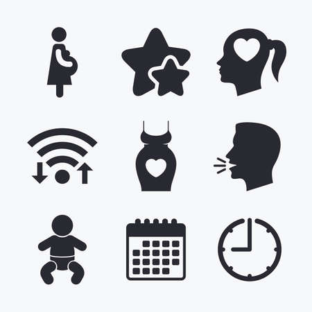 maternity: Maternity icons. Baby infant, pregnancy and dress signs. Head with heart symbol. Wifi internet, favorite stars, calendar and clock. Talking head. Vector