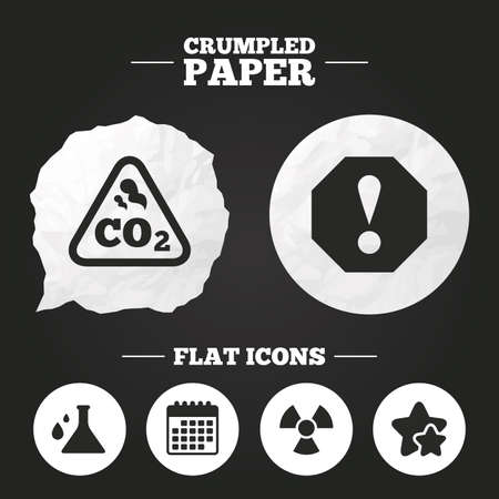 danger carbon dioxide  co2  labels: Crumpled paper speech bubble. Attention and radiation icons. Chemistry flask sign. CO2 carbon dioxide symbol. Paper button. Vector