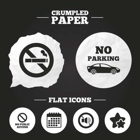 private access: Crumpled paper speech bubble. Stop smoking and no sound signs. Private territory parking or public access. Cigarette symbol. Speaker volume. Paper button. Vector