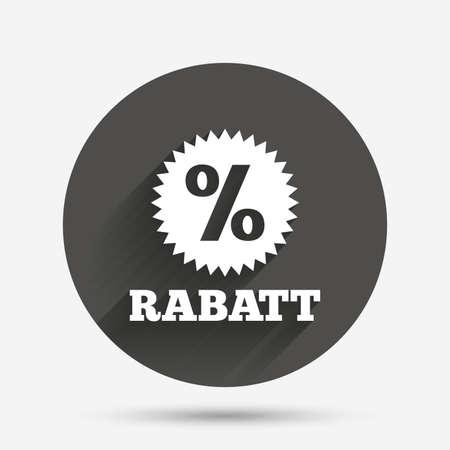 Rabatt - Rabatte in deutschen Zeichen Symbol. Stern mit Prozentzeichen. Kreis flache Taste mit Schatten. Vektor Standard-Bild - 62475532