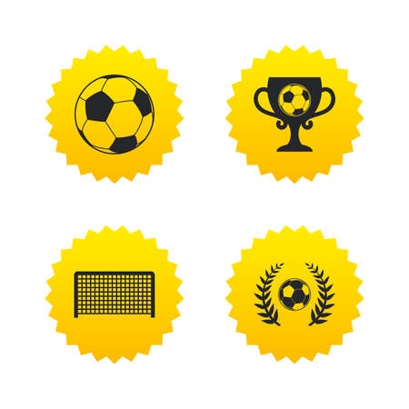 Football icons. Soccer ball sport sign. Goalkeeper gate symbol. Winner award cup and laurel wreath. Yellow stars labels with flat icons. Vector
